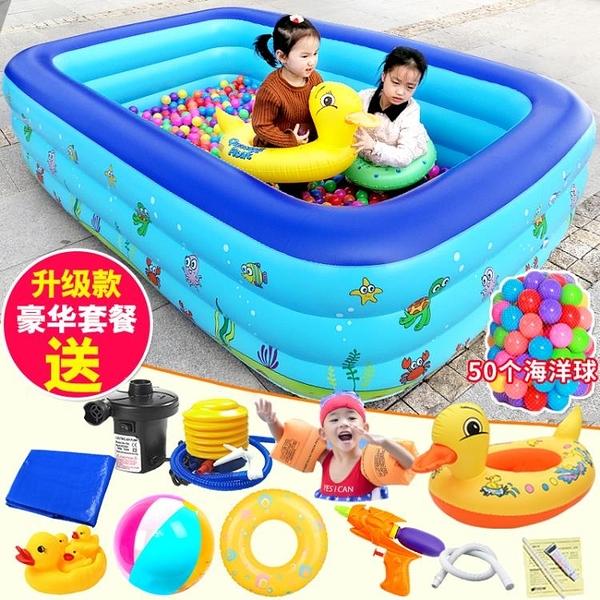 充氣泳池 盈泰兒童游泳池充氣加厚超大號家庭用寶寶海洋球池嬰兒成人泳池 夢藝