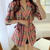 短袖西裝外套大碼女裝胖妹妹條紋格子寬松V領中長款西服M032胖妞衣櫥