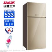 SANLUX台灣三洋1級533公升采晶玻璃雙門變頻冰箱SR-C533BVG~含拆箱定位