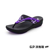 G.P (女)高臺優雅女夾腳拖 女鞋-紫色(另有咖啡、桃紅)