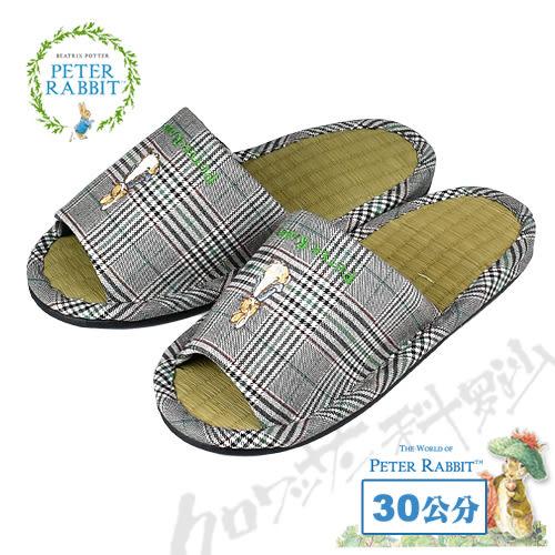 【クロワッサン科羅沙】Peter Rabbit 經典細格室內草蓆拖鞋 (綠色30CM)