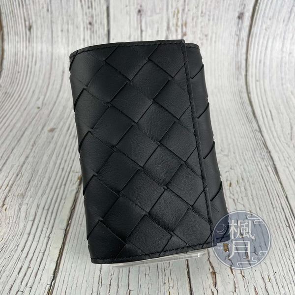 BRAND楓月 Bottega Veneta BV 630336VCPQ4 黑色 皮革 經典 編織 寬編織 鑰匙包