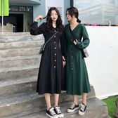 大碼連身裙 大碼女裝法式復古少女收腰顯瘦小a連身裙2019春 【時尚新品】