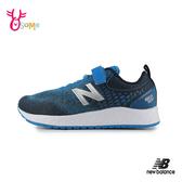 New Balance童鞋 男童跑步鞋 輕量避震運動鞋 魔鬼氈 慢跑鞋 藍 P8458#藍色◆OSOME奧森鞋業