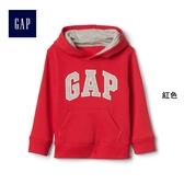 Gap男嬰幼童 Logo刷毛長袖連帽休閒上衣 113991-紅色