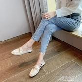 樂福鞋 夏季新款英倫小皮鞋百搭軟皮平底單鞋時尚一腳蹬樂福鞋女兩穿 原本良品