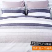 羽絲棉床包兩用被四件組 雙人 灰條
