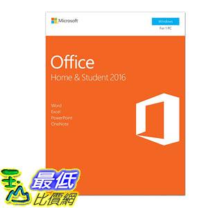 [106美國直購] 2017美國暢銷軟體 Microsoft Office Home and Student 2016, 1 user, PC Key Card