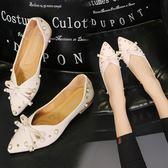 韓版蝴蝶結單鞋平底鞋珍珠水鑚中空套腳瓢鞋淺口尖頭女鞋子  黛尼時尚精品