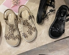 水鉆涼鞋女夏仙女風坡跟新款