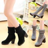 中筒靴 短靴女鞋百搭單靴粗跟裸靴秋冬鞋秋款襪靴踝靴   9號潮人館