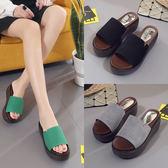 韓版厚底坡跟拖鞋女夏時尚一字拖涼鞋