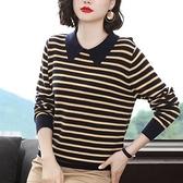 長袖針織衫~針織衫毛衣女時尚洋氣條紋上衣寬松外穿長袖羊毛衫BF19A莎菲娜