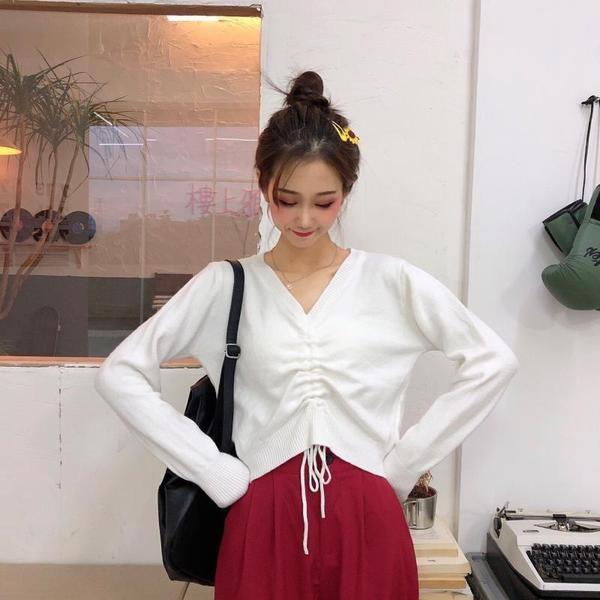 秋季女裝早秋新款潮2020網紅上衣輕熟抽繩長袖短款寬鬆毛衣針織衫