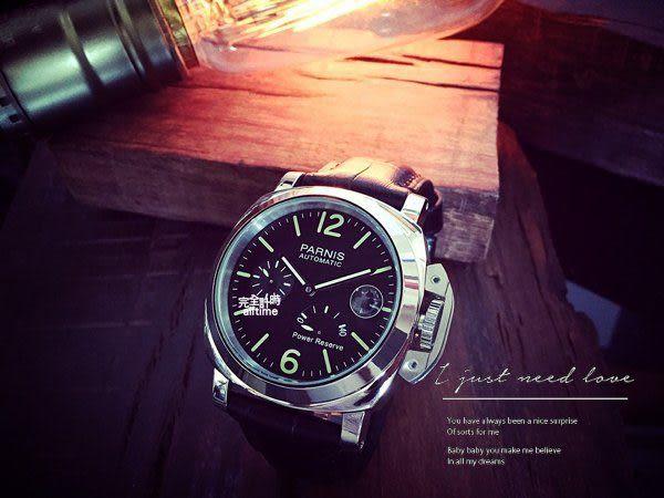 【完全計時】手錶館│ PARNIS 瑞典軍錶風格 動力儲存 自動機械錶 PA3007