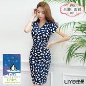 LIYO理優MIT涼感印花V領合身洋裝E716001