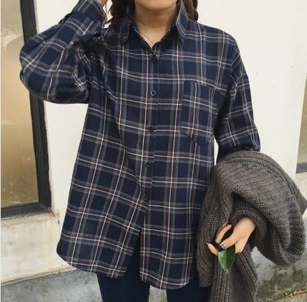 EASON SHOP(GU5354)撞色格子格紋長版落肩長袖襯衫外套寬鬆男友風有口袋深藍色韓版女上衣服春夏裝