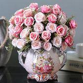 歐式仿真花束絹花插花擺件客廳茶幾餐桌假花干花盆栽裝飾塑料花藝