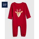 Gap男女嬰兒圓領長袖一體式包屁衣513705-摩登紅色