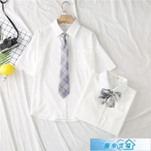 JK制服2020新款JK制服襯衫女短袖白色上衣學生學院風領帶蝴蝶結襯衣長袖 漫步雲端