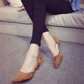 歐洲站女式單鞋高跟鞋OL優雅尖頭低跟5cm磨砂絨面細跟黑色工作鞋 森雅誠品