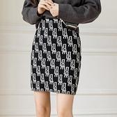 包臀裙 字母針織半身裙女 高腰修身包臀短裙百搭a字裙H331快時尚