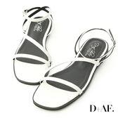 涼鞋 D+AF 完美品味.一字斜帶繫踝平底涼鞋*白
