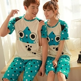 大眼貓咪 棉質長袖二件式情侶睡衣  居家服