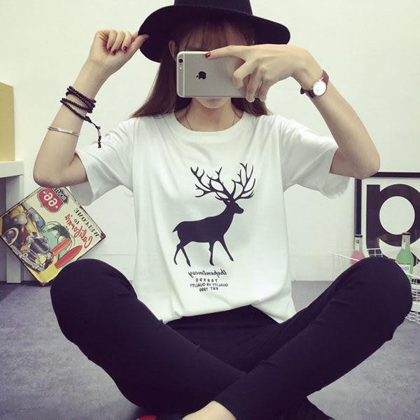 韓版經典百搭寬鬆小鹿短袖T恤女(T-075)均碼