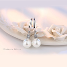 S925銀 淡雅人造珍珠水鑽耳勾耳環-維多利亞180551