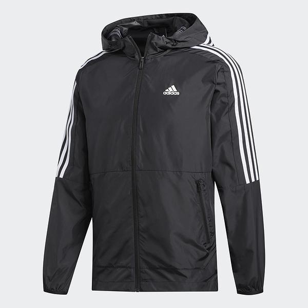 ADIDAS 3-STRIPES 男裝 外套 連帽 休閒 慢跑 風衣 輕量 拉鍊口袋 黑【運動世界】FT2835