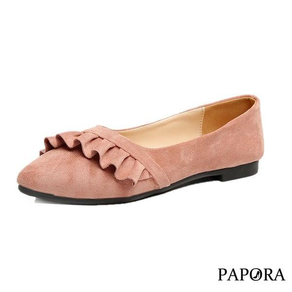 PAPORA斜邊波浪平底娃娃鞋K7712黑/米/粉(偏小)
