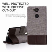 Sony XA2 十字紋拼色 牛皮布 掀蓋磁扣手機套 手機殼 皮夾手機套 側翻可立式 外磁扣皮套