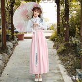 改良式漢服 女冬裝現代中國風長裙套裝古風女俠日常學生 df11414【Sweet家居】