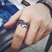 全館83折 ZEROLINE潮牌時尚十字架戒指日韓鈦鋼食指環耶穌信仰男女情侶對戒