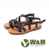 【南紡購物中心】W&M(女)羅馬女神風 優雅纏繞涼鞋-黑(另有米)
