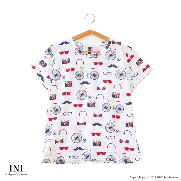 【INI】週慶限定、休閒俏皮逗趣上衣.白色