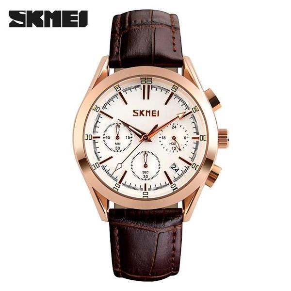 []皮錶帶男士休閑石英錶 防水商務手錶秒錶計時日歷腕錶