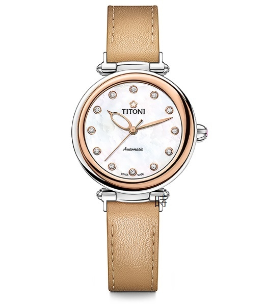 TITONI 梅花麥 瑞士 時尚 機械錶(23978 SRG-STC) 快拆/玫塊金框