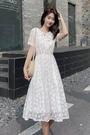 蛋糕裙 短袖裙子2021新款小清新仙女夏季chic花邊蕾絲白色高腰長裙連身裙 寶貝寶貝計畫 上新