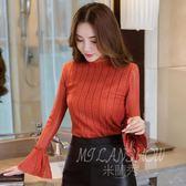 韓版時尚名媛氣質顯瘦喇叭袖襯衫上衣 甜美長袖蕾絲衫小禮服