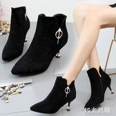 秋季新款英倫風馬丁靴高跟鞋細跟單靴 QQ10675『東京衣社』