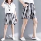 五分褲 大碼夏裝條紋減齡加肥加大高腰顯瘦休閒棉麻闊腿短褲