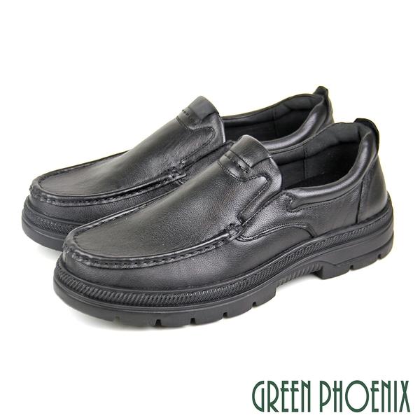 T59-10811 男款全真皮皮鞋 簡約沉穩素面直套式全真皮厚底休閒/商務皮鞋【GREEN PHOENIX】