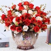 歐式仿真玫瑰花客廳裝飾假花擺設擺件塑料花束餐桌盆栽擺花絹花藝 FF5811【Pink 中大尺碼】