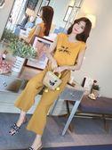 夏季2018新款時尚貓咪T恤套裝女高腰休閒闊腿褲子帥氣潮流兩件套