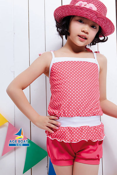【出清專區 】APPLE蘋果牌泳裝↘成本出清~女童桃紅色點點搭泡泡褲二件式泳衣 附泳帽  NO.14601