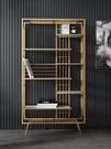 置物架 小木槿輕奢鐵藝書架北歐風簡約客廳置物架現代書房書柜落地展示架 宜品