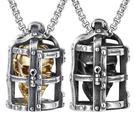 《QBOX 》FASHION 飾品【CHE716】精緻個性龐克風非主流監獄骷顱頭鑄造鈦鋼墬子項鍊/掛飾