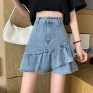 牛仔短裙女2021新款春夏高腰顯瘦a字荷葉邊魚尾包臀不規則半身裙 pinkq時尚女裝